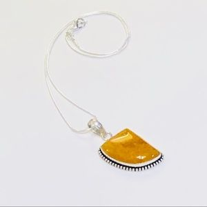 Golden Yellow Agate Pendant Necklace .925 Sterling